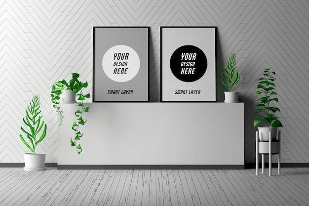 2つの空白のプレゼンテーション画像フレーム付きの部屋のインテリア