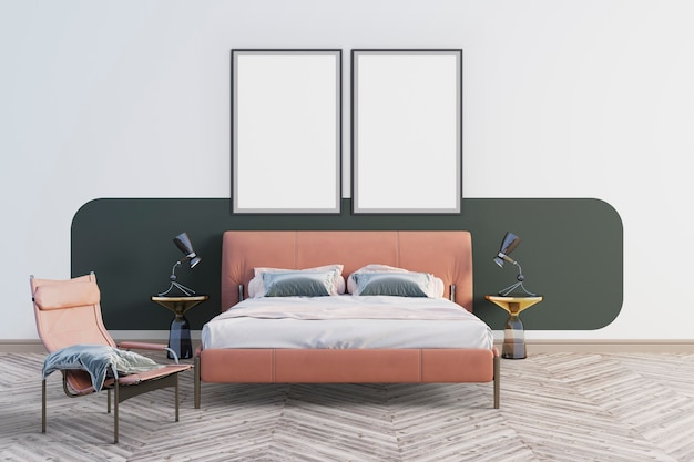 2つの大きな絵のある寝室