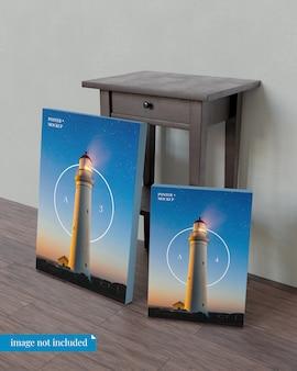 ベッドサイドテーブルと2つのポスターのモックアップ