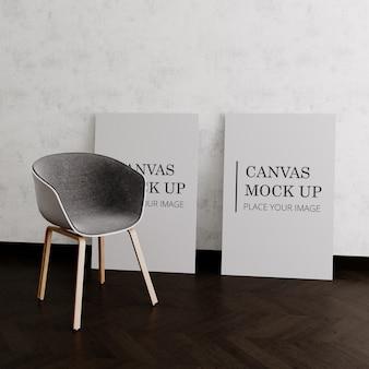 椅子とモックアップされた2つのキャンバス