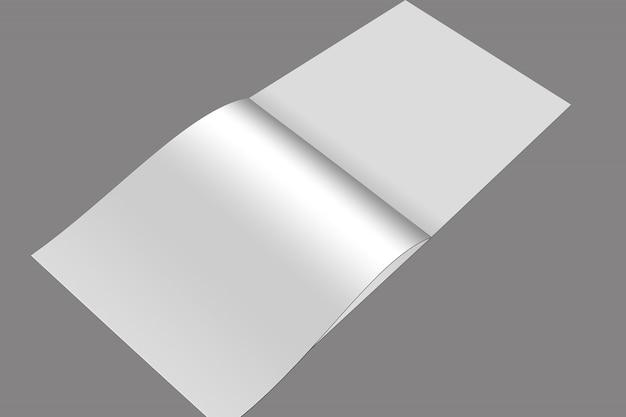 正方形のパンフレットと2つ折りモックアップデザイン