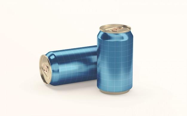 地面のモックアップに2つのソーダ飲料缶
