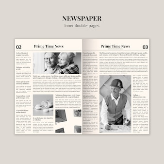 内側の2ページの新聞のモックアップ