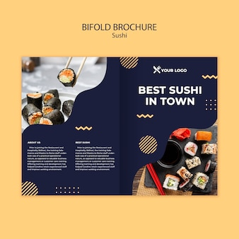 寿司コンセプト2つ折りパンフレットテンプレート
