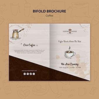 コーヒーショップ2つ折りパンフレットのテンプレート