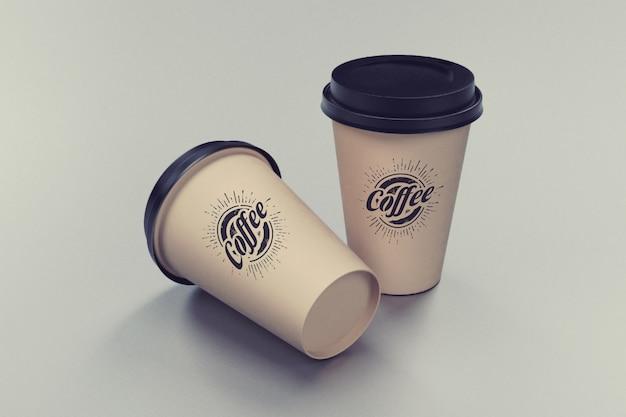 2つのコーヒーカップのモックアップ