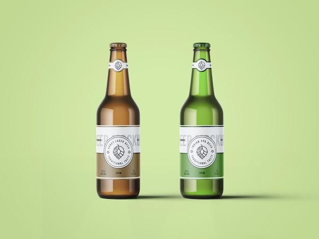 2つのビール瓶のモックアップ