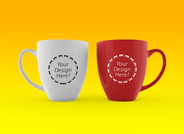 編集可能な2つのコーヒーカップのブランドのデザインテンプレートをモックアップ