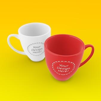 2つのコーヒーカップの編集可能なモックアップデザインテンプレート