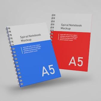 プレミアム2オフィスハードカバースパイラルバインダーノートブックモックアップデザインテンプレートフライングフロントビュー