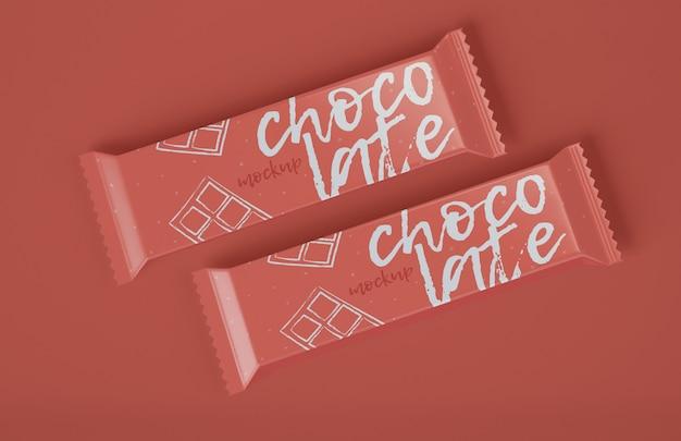 2つのチョコレートバーのモックアップ