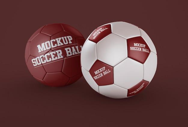 2つのサッカーボールのモックアップ