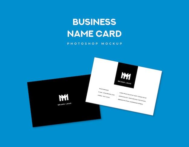 青の背景に2つのビジネス名カードの前面と背面のスタイル
