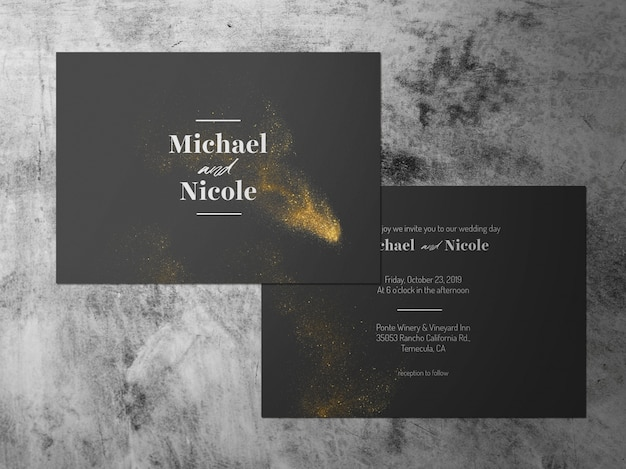 結婚式招待状、2つの直面しているゴールドブラックホワイトテーマカード