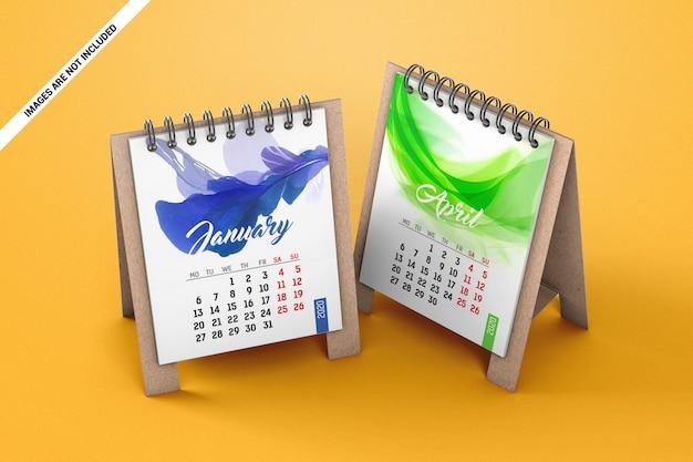 2つのミニ卓上カレンダーのモックアップ
