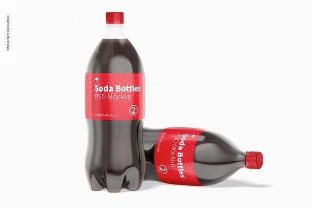 Mockup di bottiglie di soda da 2 litri, in piedi e caduto
