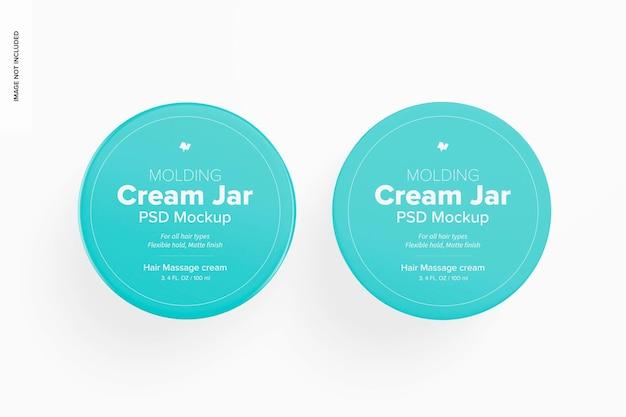 3.4 oz molding cream jars mockup, top view