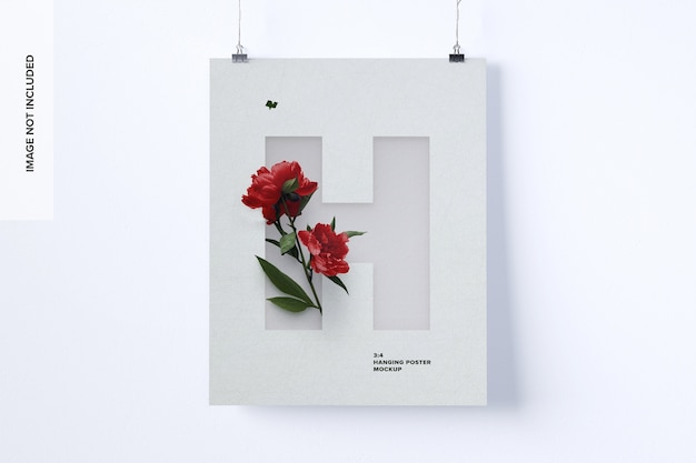 3:4 portrait hanging poster mockup