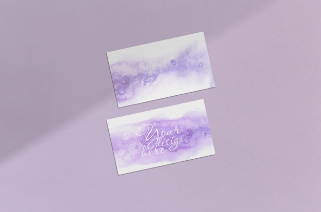 Визитная карточка 3,5х2 дюйма макет на розовом фоне