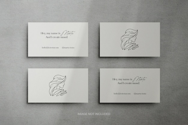 3,5x2 inches business cards mockup scene