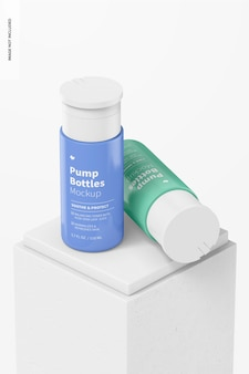 3.7 oz pump bottles mockup, standing and dropped