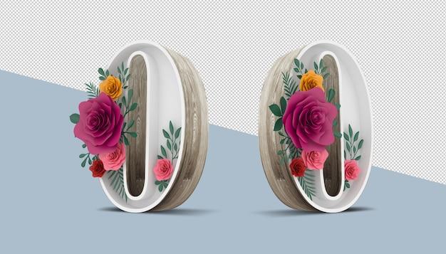カラフルな花の装飾、3 dレンダリングの木番号0