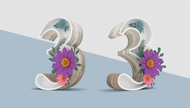 カラフルな花の装飾、3 dレンダリングの木番号3