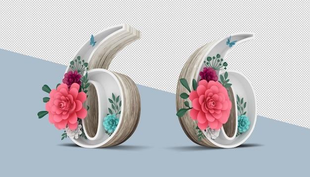 カラフルな花の装飾、3 dレンダリングの木番号6