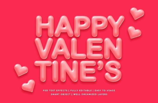 幸せなバレンタイン3 dテキストスタイル効果モックアップ