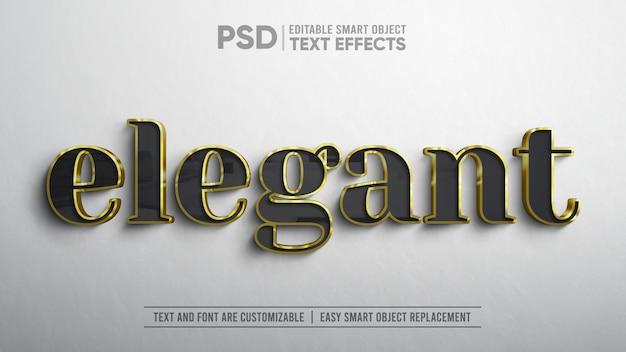 3 dのリアルなエレガントなブラックゴールドテキスト編集可能なスマートオブジェクトモックアップ