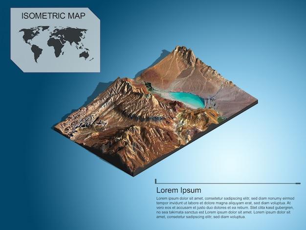 インフォグラフィックの等尺性マップ仮想地形3 d。