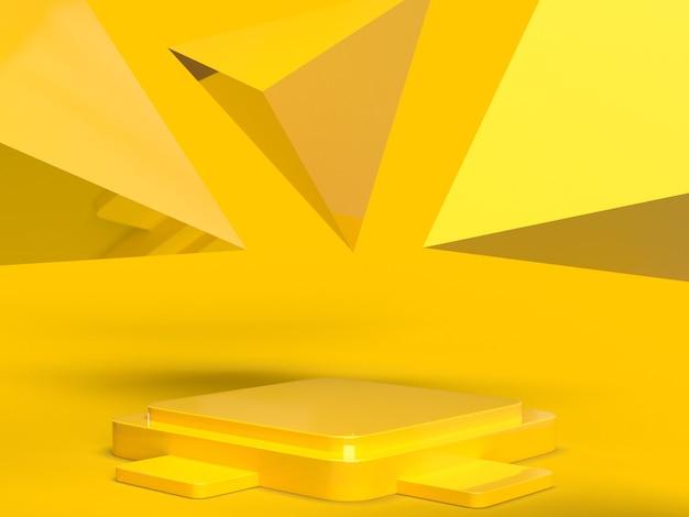 製品の配置と編集可能な表彰台と3 dの金黄色の背景の幾何学的なエレガントなシーン