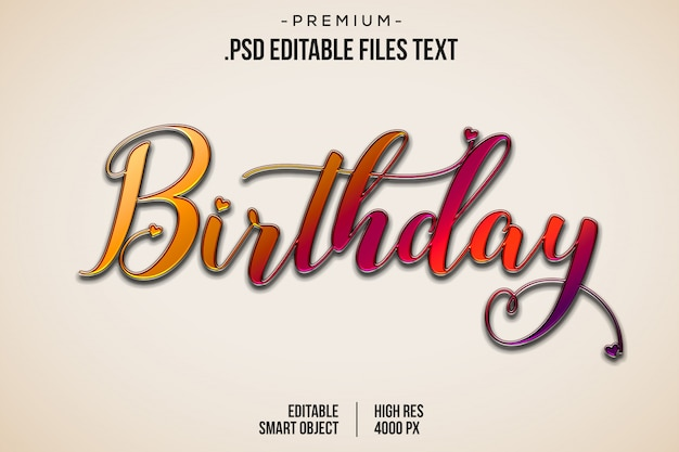 誕生日3 dテキストスタイル効果、手描きのレタリングカード、モダンなブラシ書道、誕生日テキスト効果、セットエレガントなピンク紫抽象的な誕生日テキスト効果