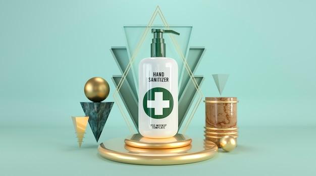 表彰台の3 dレンダリングに抽象的な化粧品モックアップテンプレート石鹸瓶