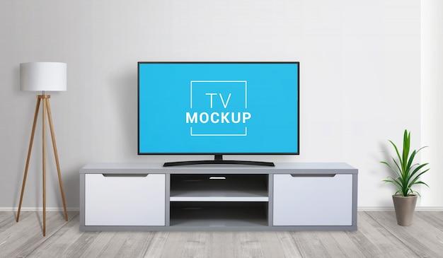 リビングルームのテレビのモックアップ。 3 dレンダリングのコンセプト