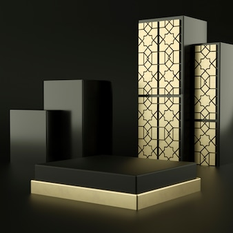 イスラムの抽象的な黒い幾何学的形状、表彰台のディスプレイやショーケース、3 dレンダリングのモダンなミニマリスト