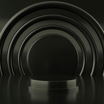 抽象的な黒い色の幾何学的形状、表彰台のディスプレイまたはショーケース、3 dレンダリングのモダンなミニマリスト