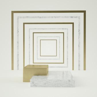分離された黒白い大理石の台座の手順、ゴールデンリング、ラウンドフレーム、抽象的な最小限のコンセプト、空白、シンプルなすっきりとしたデザイン、豪華なミニマリストの3 dレンダリング