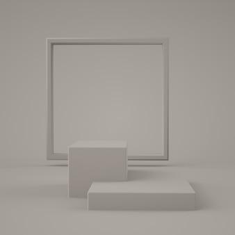 抽象的な灰色の幾何学的形状、表彰台のディスプレイやショーケース、3 dレンダリングのモダンなミニマリスト