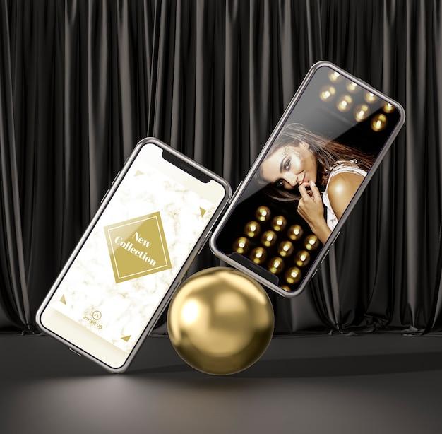 3 dモックアップスマートフォンのコンセプト