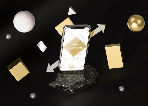3 dモックアップスマートフォンの抽象的な概念