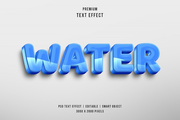 3 d水編集可能なテキストスタイルの効果
