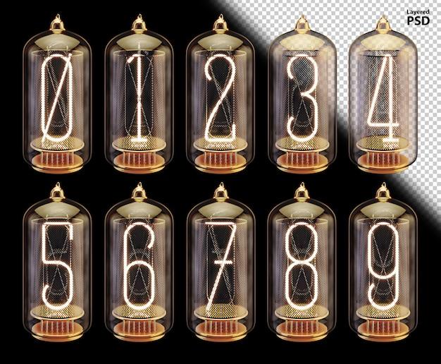 輝く数字の3 d真空管フォント