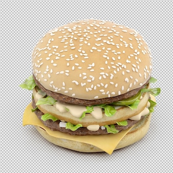 ハンバーガー3 d分離レンダリング