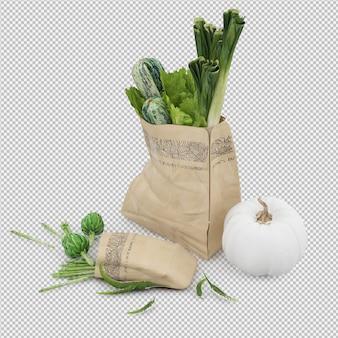 等尺性食料品袋3 dレンダリング