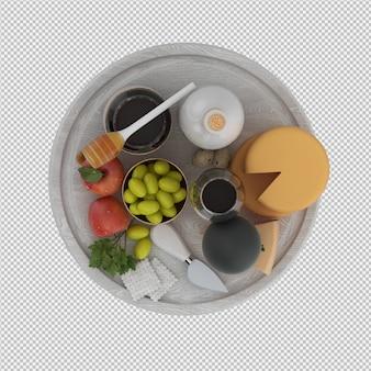 プロボローネワインオリーブアップルハニー3 dレンダリングの小さなテーブル