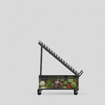 野菜や果物の3 dレンダリングのために立つ