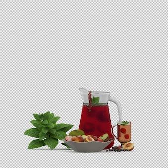 フルーツ3 dレンダリングと赤いジュース