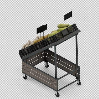 等尺性野菜スタンド市場3 dレンダリング