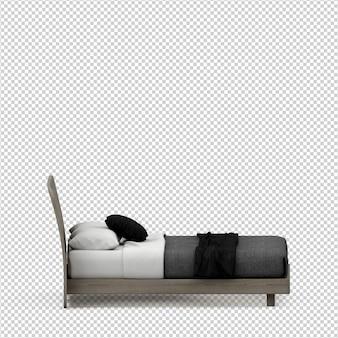 分離された等尺性ベッド3 dレンダリング